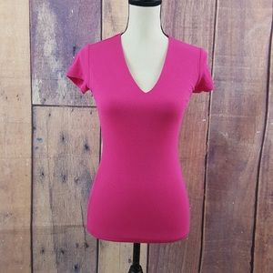 INC Woman's Pink Ribbed Short Sleeve V Neck Top